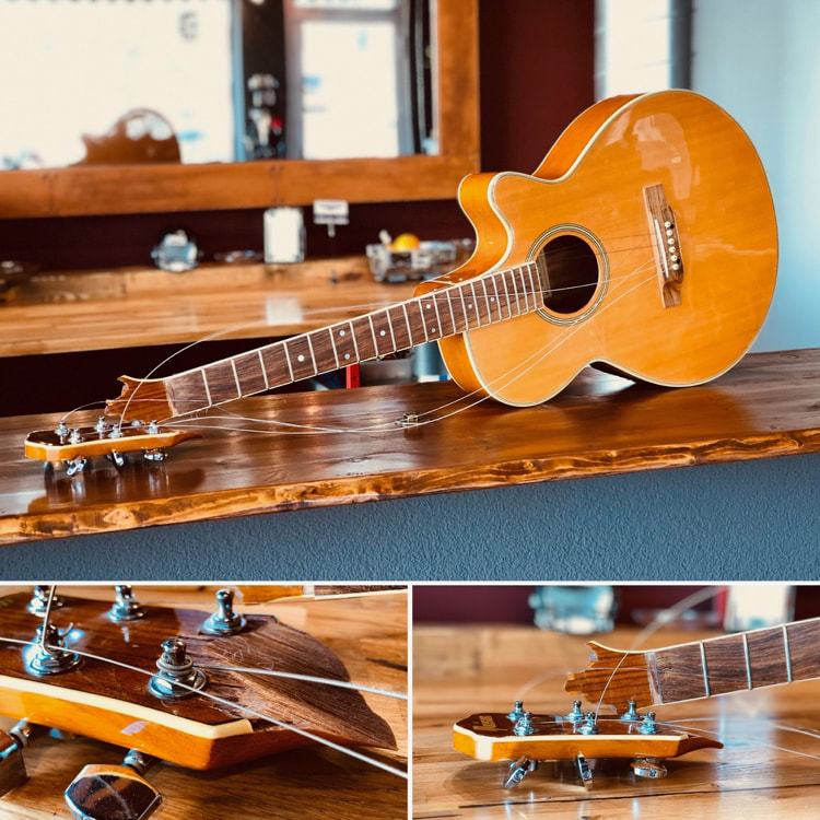 Acoustic Gutiar With Broken Headstock